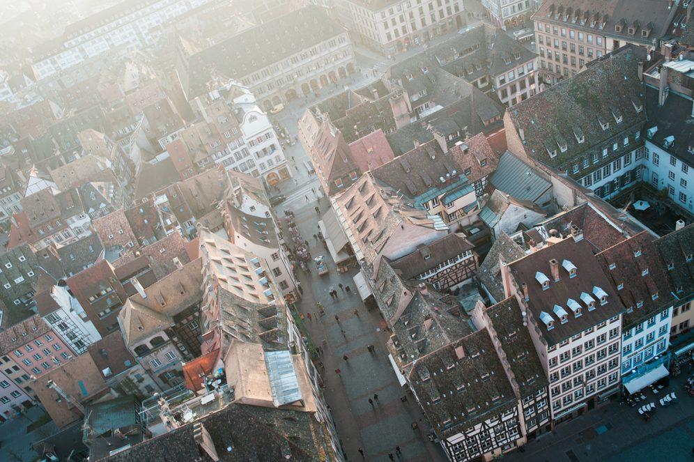 Terrasse panoramique Panorama place Cathédrale ville de Strasbourg Goldenour