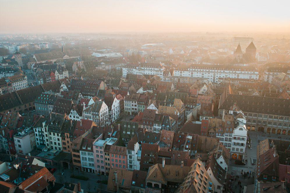 Terrasse panoramique Panorama Cathédrale ville de Strasbourg Goldenour